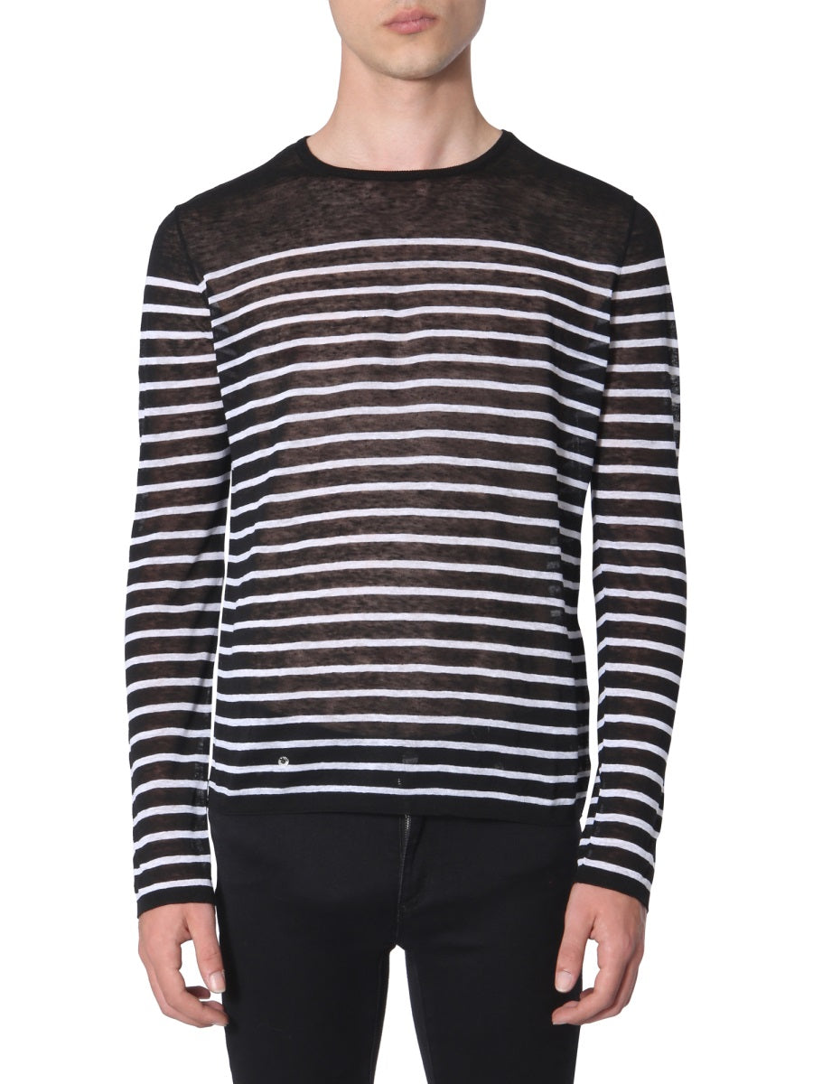 Saint Laurent Knits SAINT LAURENT STRIPED SHEER KNITTED SWEATER