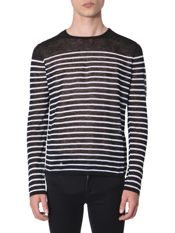 Saint Laurent Striped Sheer Knitted Sweater