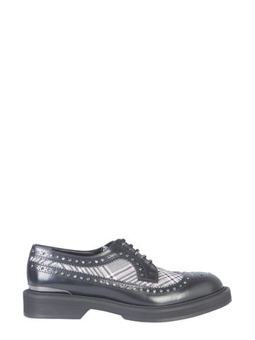 Alexander McQueen Check Insert Lace-Up Shoes