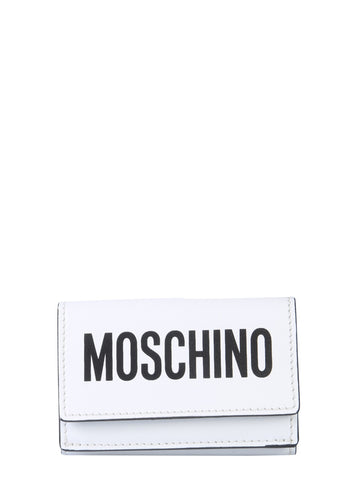 Moschino Logo Print Leather Wallet