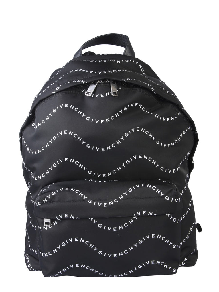 Givenchy GIVENCHY WAVE LOGO PRINT ZIPPED BACKPACK
