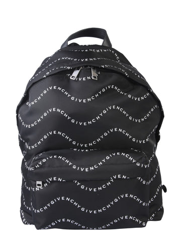 Givenchy Wave Logo Print Zipped Backpack