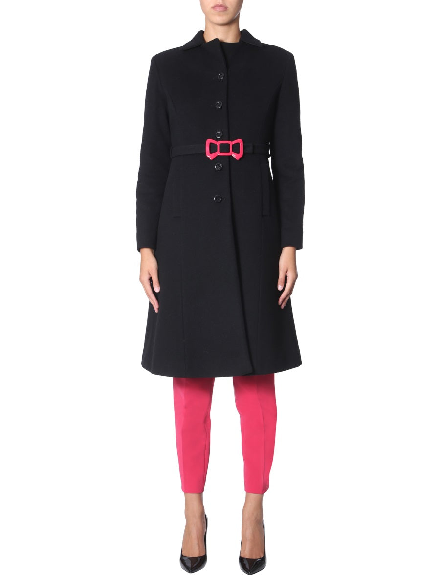 Boutique Moschino Coats BOUTIQUE MOSCHINO RIBBON DETAIL BELTED COAT
