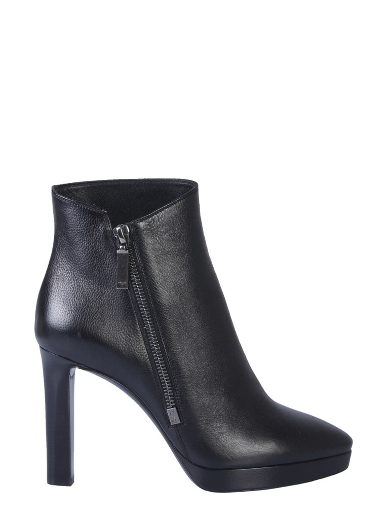 Saint Laurent Hall 105 Leather Ankle Boots In 1000 Nero
