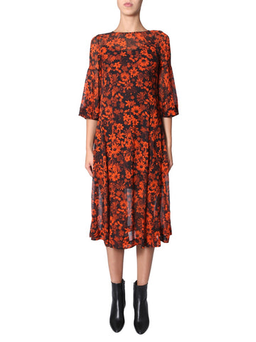 McQ Alexander McQueen Floral Print Sheer Midi Dress