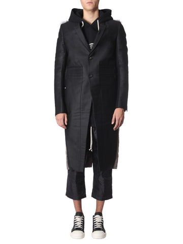 Rick Owens Alice Single Breasted Fur Panel Coat