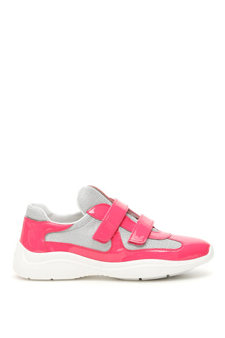 Prada Velcro Strap Contrasting Panelled Sneakers