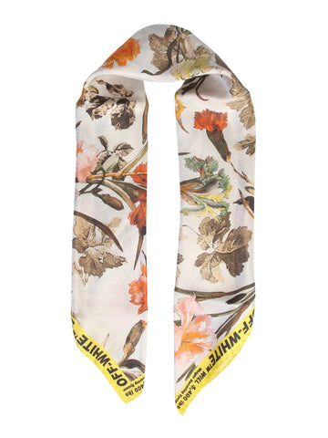 Off-White Floral Logo Printed Scarf