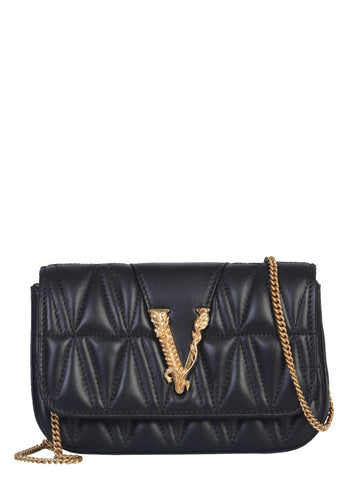 Versace Quilted Logo Plaque Crossbody Bag