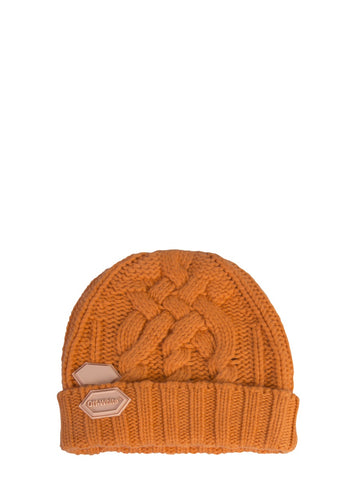 Off-White Logo Patch Cable Knit Beanie