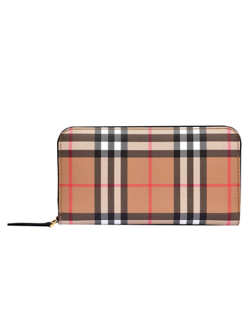 Burberry Check Zip Around Wallet