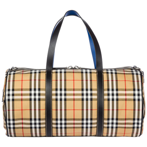 Large Vintage Check Duffle Bag