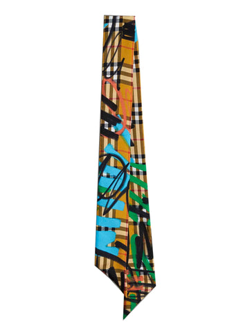 Burberry Graffiti Print Checked Tie