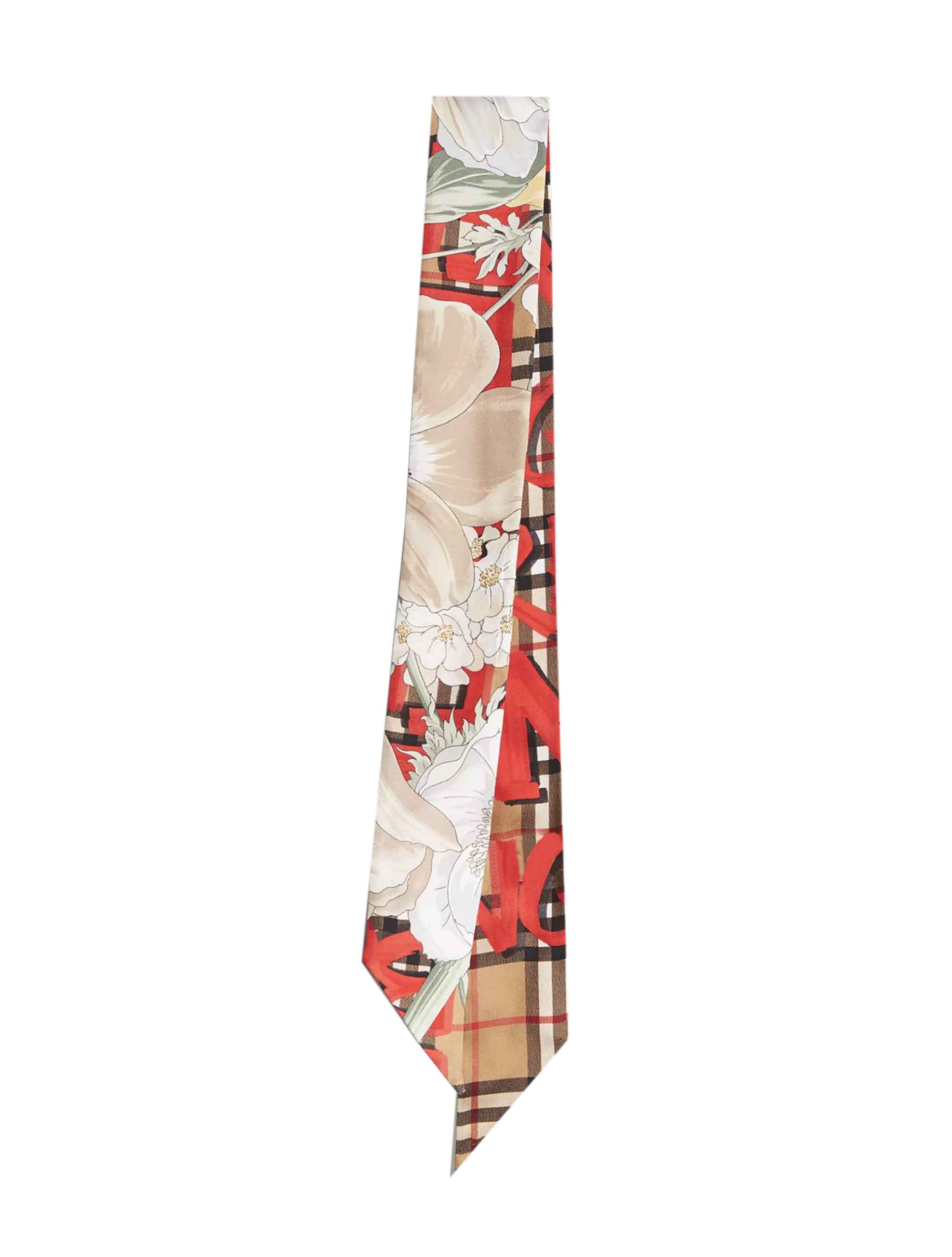 Burberry Floral Print Twilly, Multi