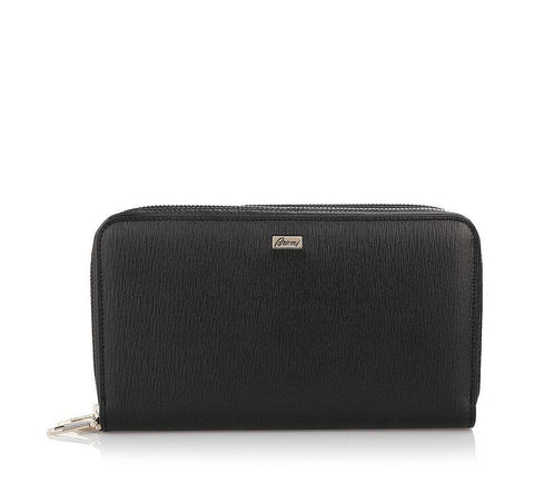 Brioni Double Compartment Leather Wallet