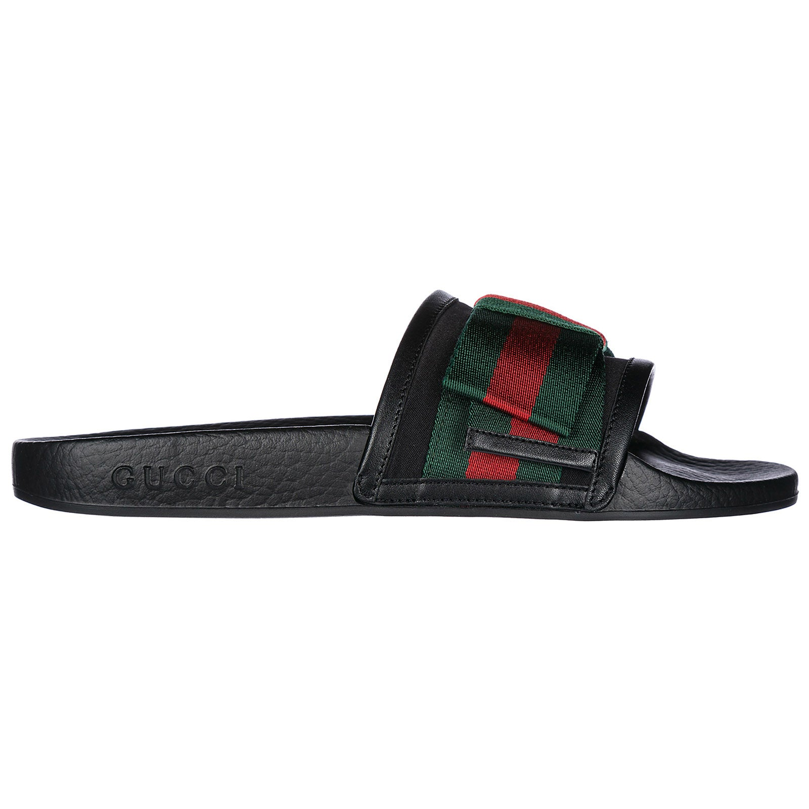 1cc02721cac Gucci Women s Pursuit Satin Bow Pool Slide Sandals In Black