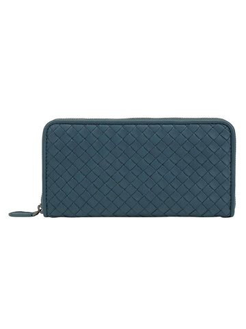Bottega Veneta Woven Zip Around Wallet