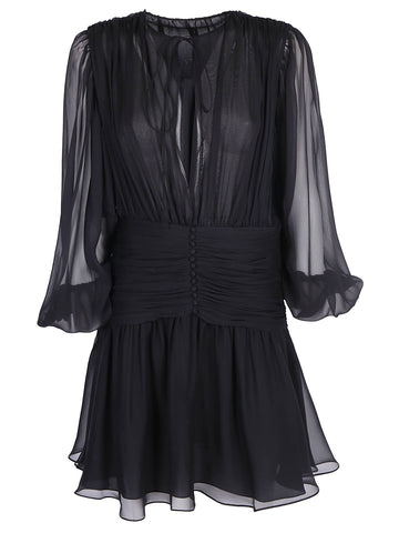 Saint Laurent  Sheer Sleeve Flare Dress