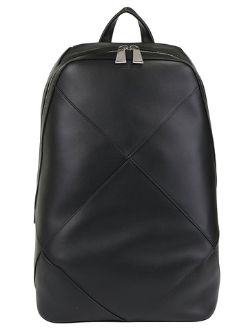 Bottega Veneta Logo Embossed Woven Zipped Backpack
