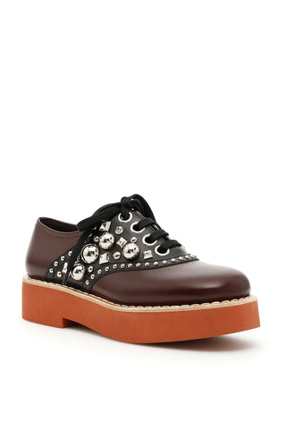 Miu Miu Studded Lace-up Shoes
