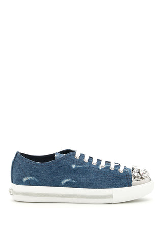 Miu Miu Embellished Denim Sneakers