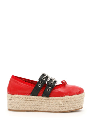 Miu Miu Platform Buckled Ballerina Shoes