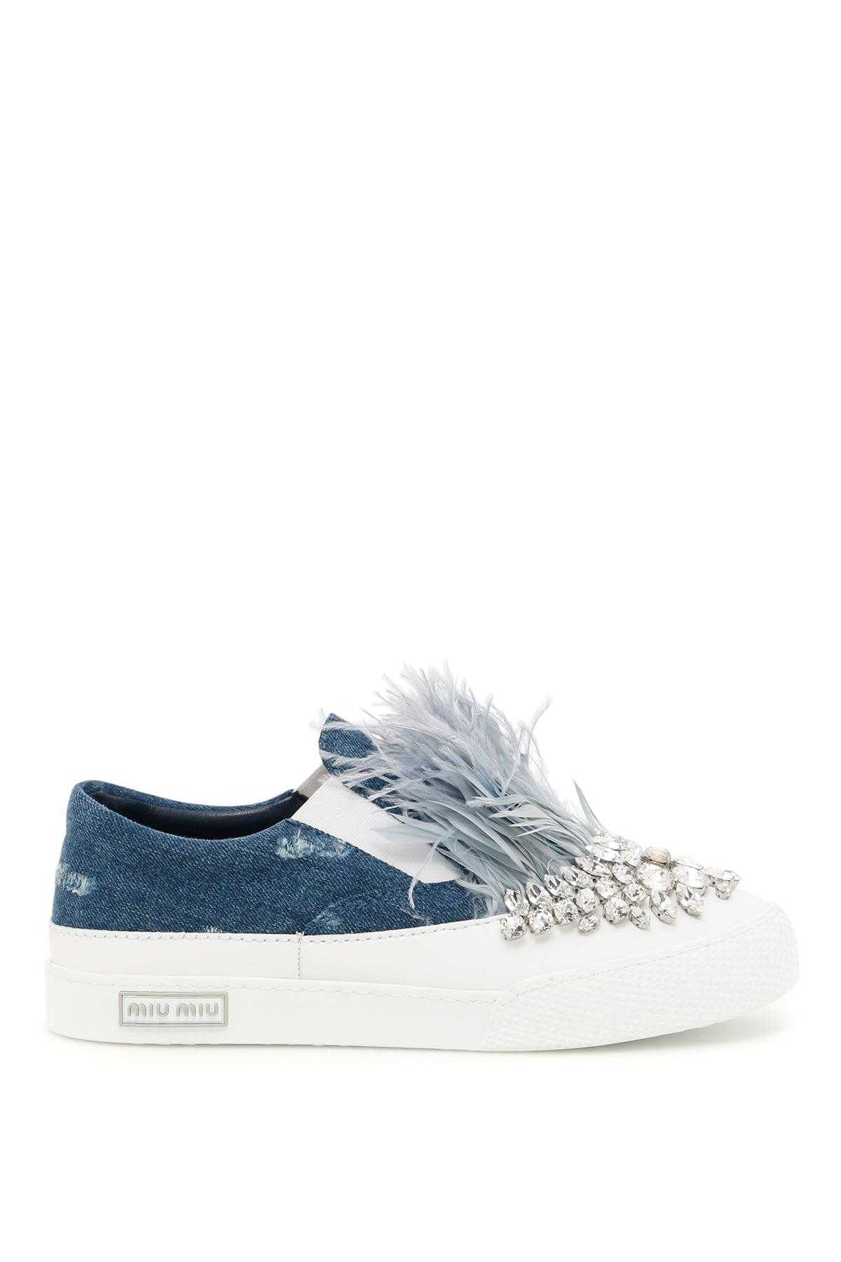 MIU MIU CRYSTAL AND FEATHER EMBELLISHED SLIP ON SNEAKERS