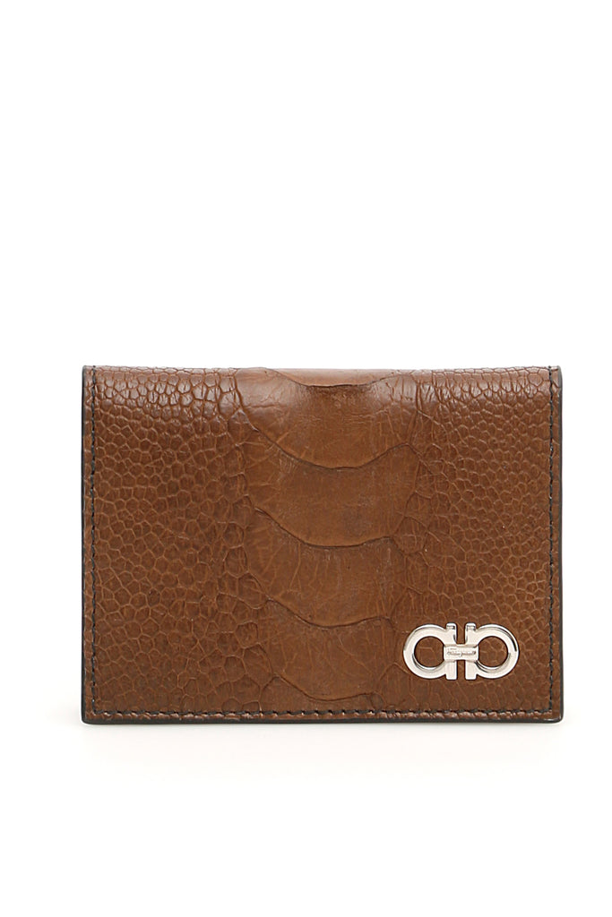 Salvatore Ferragamo Ostrich Gancini Card Holder 10a830cb7e2f7