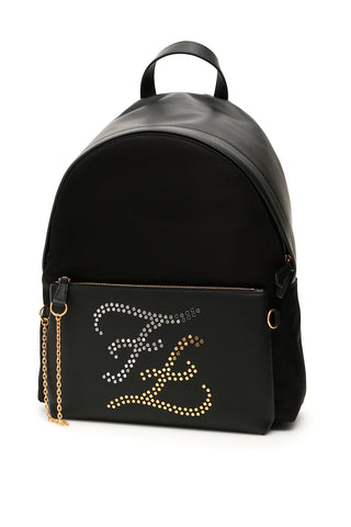 Fendi Karligraphy Embellished Logo Backpack
