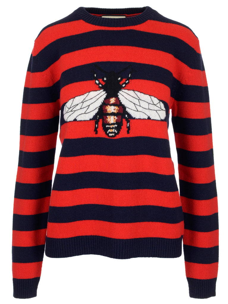abcaadf2 Gucci Striped Bee Motif Sweater – Cettire