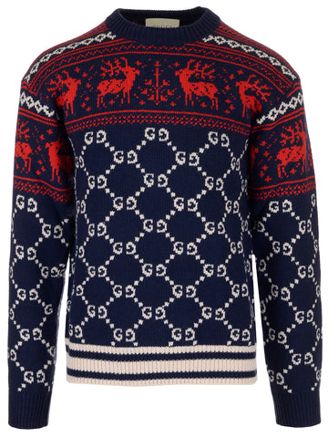 Gucci Reindeer GG Intarsia Knit Sweater
