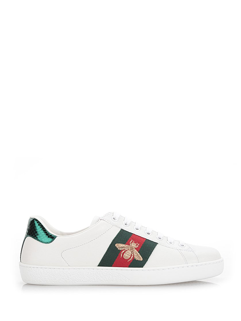 Gucci Ace Watersnake-Trimmed Embroidered Leather Sneakers In White