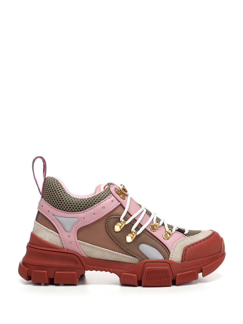Flashtrek Logo-Embossed Leather, Suede And Mesh Sneakers in Baby Pink
