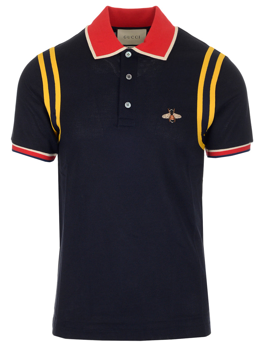 a2d336f96dc Gucci Bee Embroidered Cotton Polo Shirt In Blue In 4033 Blue