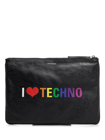 "Balenciaga Medium ""I Love Techno"" Print Pouch"