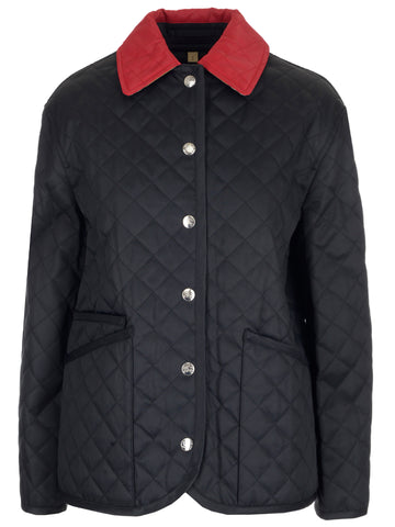 Burberry Contrast Collar Quilted Jacket
