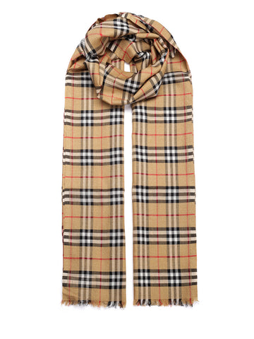 Burberry Metallic Thread Checked Scarf