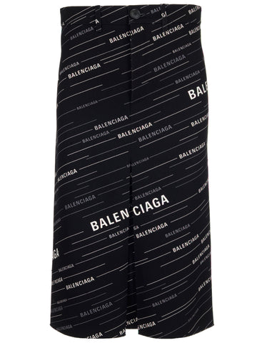 Balenciaga Logo Printed Denim Skirt