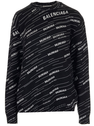 Balenciaga All-Logo Print Long-Sleeve Sweater