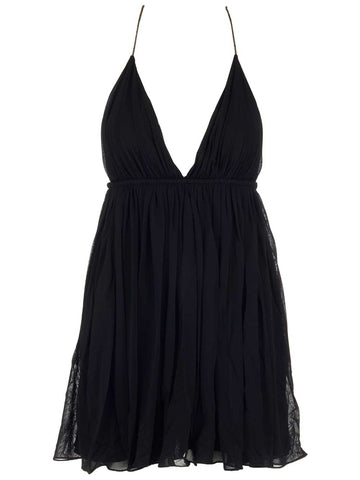 Saint Laurent Pleated Plunge Neckline Mini Dress