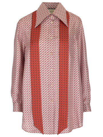 Gucci Stirrups Print Long Sleeve Shirt