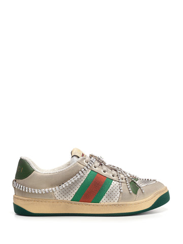 Gucci Screener Crystal Chain Sneakers