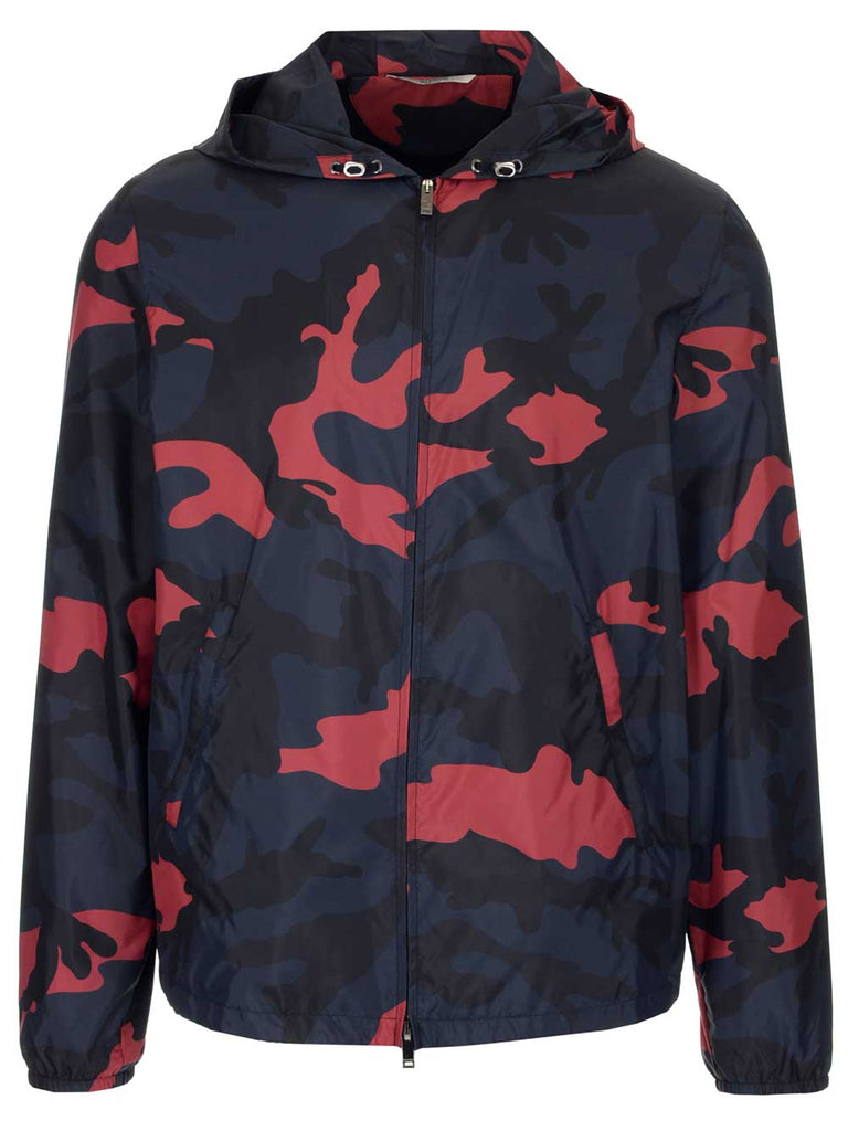Valentino Camouflage Printed Windbreaker
