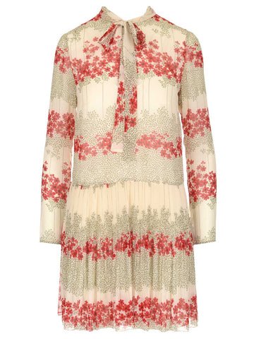 Red Valentino Floral Print Long Sleeve Mini Dress
