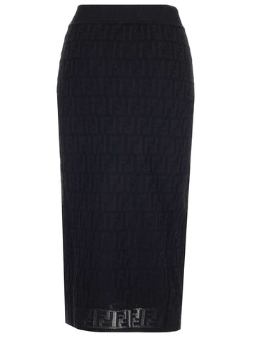 83598e660b11dd Fendi Monogram Knitted Pencil Skirt