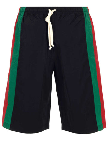 Gucci GG Logo Patch Striped Bermuda Shorts