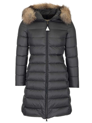 Moncler Belted Fur Trimmed Hooded Coat