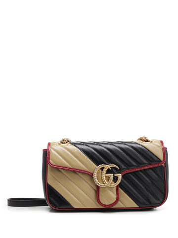 Gucci GG Marmont Quilted Stripe Shoulder Bag