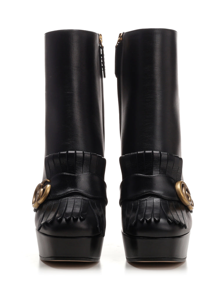 235767f7 Gucci GG Marmont Heeled Ankle Boot