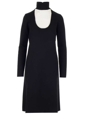 Bottega Veneta Cut Out Neckline Midi Dress